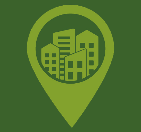 Theme image for Urban Lab: KMap pin and city silhouette against a green background